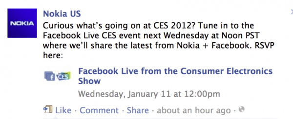 Nokia and Facebook Announcing Something at CES? | Nokia Mobile Blog