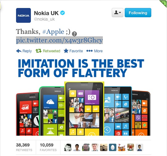 Nokia Dig at Apple Twitter