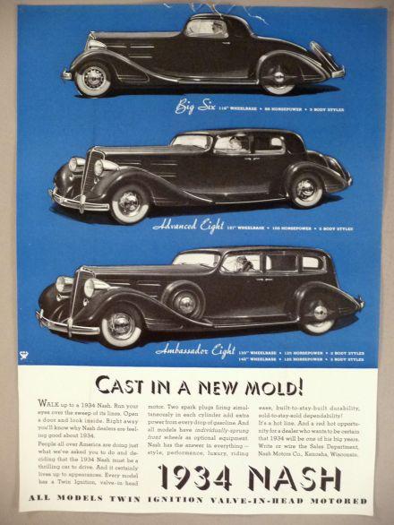 1934 Nash Motor Car 2-Page PRINT AD - 1934