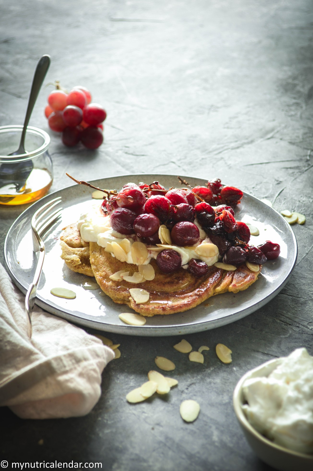 almond meal pancakes with Greek yogurt roasted grapes honey 2