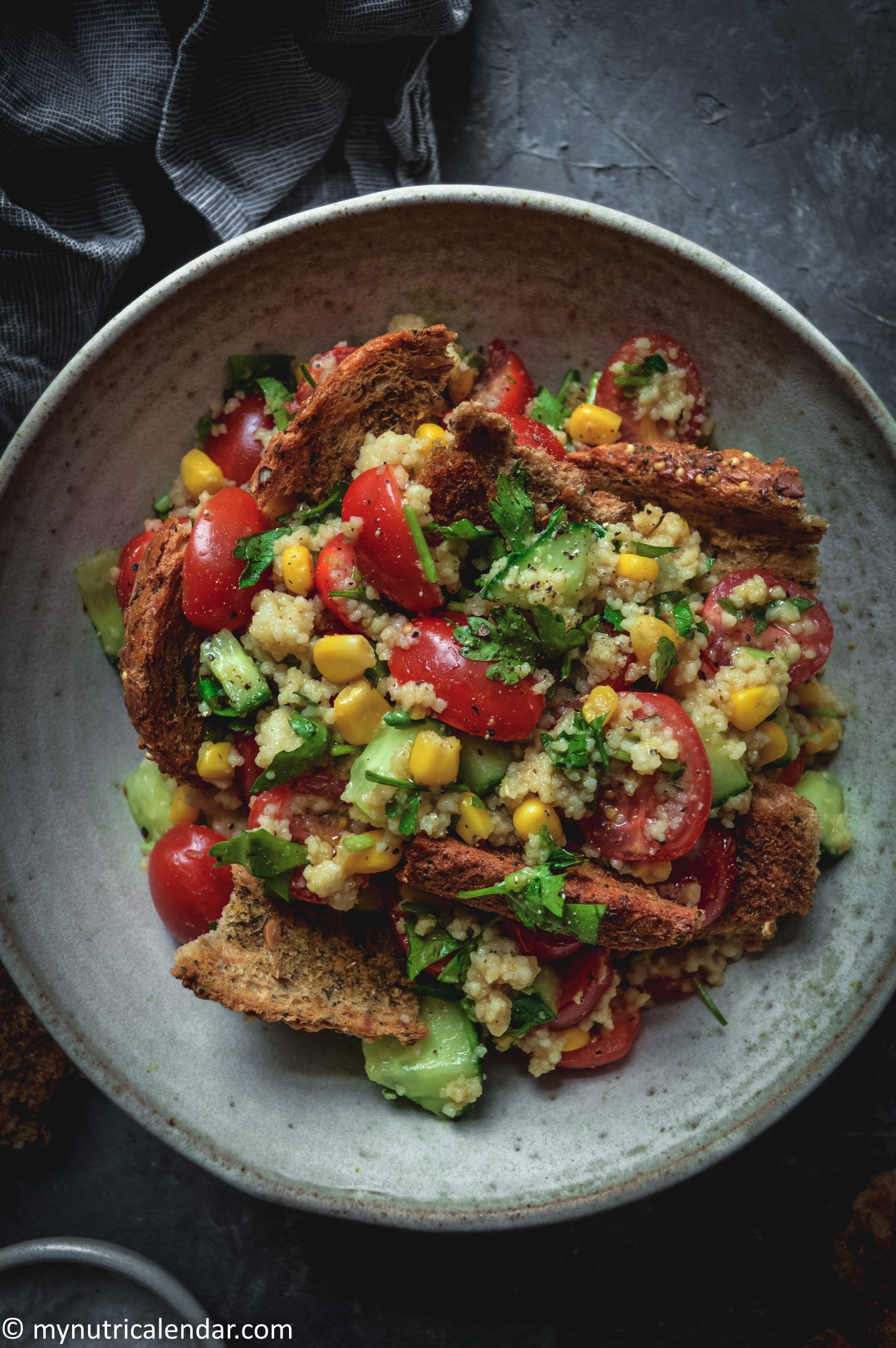 couscous corn salad with garlic bread leftovers 4
