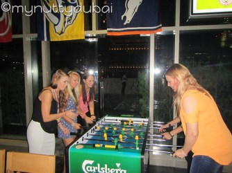 Playing foozball