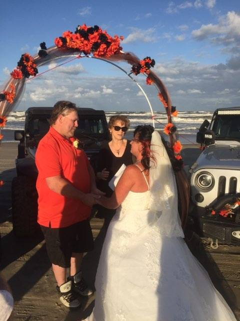 Christine and Ron Wedding in Carova Beach with Reverend Barbara Mulford