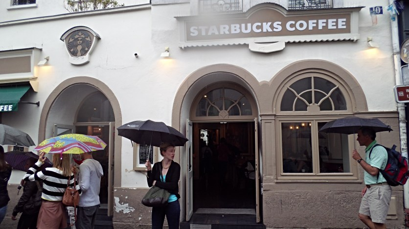 Starbucks looking completely out of place.