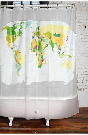Map of the world - Old world map shower curtain ...