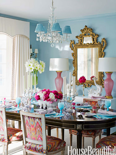 "INTERIOR DESIGNER RUTHIE SUMMERS...LOVE THE PINK AND BLUE AND BLACK...FROM HOUSE BEAUTIFUL"" In the dining room, walls in Farrow & Ball's Blue Ground in Full Gloss are a foil for pink Murano glass lamps from Swank Lighting. Vintage Louis XVI–style chairs around a Jansen dining table are covered in Talcy Velvet by Clarence House."""