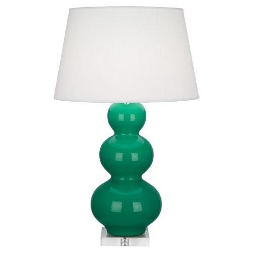 ROBERT ABBEY TRIPLE GOURD LAMP WITH LUCITE IN KELLY GREEN