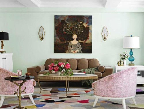 Designer   Fawn   Galli   used    a   custom   paint   color   in   the   above   space.