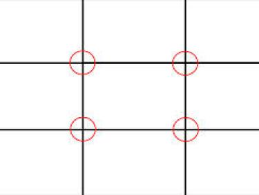 RULE OF THIRDS...OUR EYES GRAVITATE TOWARD THE AREAS CIRCLED..IN ART, PHOTOGRAPHY, DECOR...