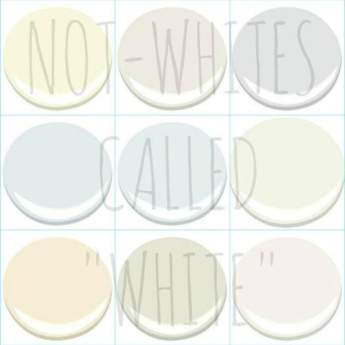 """9 GREAT NON WHITE """"WHITES"""" - ALL BENJAMIN MOORE COLORS - ASPEN WHITE, DUNE WHITE, GENESIS WHITE, LILY WHITE, PATRIOTIC WHITE, WHITE CLOUD, WHITE MOUNTAINS, WHITE RIVER, WHITE ZINFANDEL"""