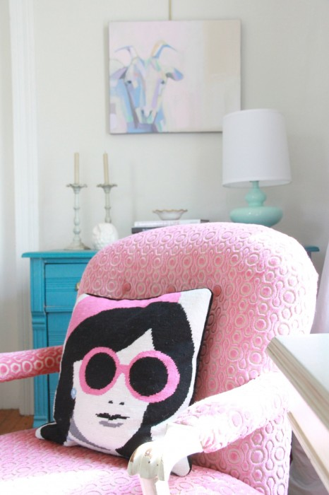 """My husband and I inheriting this chair from his Grandmother...hence it's name- """"GRAM""""S CHAIR""""...It has been reupholstered 5 times and in this incarnation is a PINK VELVET that Phoebe and I chose on our trip to MOOD FABRICS in New York. We had a whole bunch of fun photos of us that day...playing in the fabric, being silly...and that was the day I lost my phone...with the photos...so we will rely on our memories of that fun fun day!"""