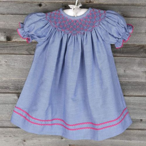 SMOCKED PINK GEOMETRIC BISHOP BLUE GINGHAM ON ON SMOCKED AUTIONS