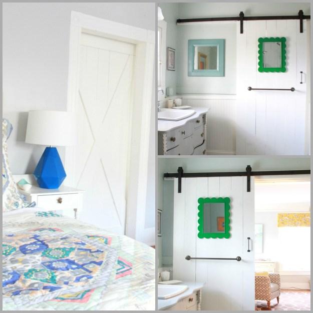 THE MASTER BEDROOM WITH A BATHROOM BARN DOOR