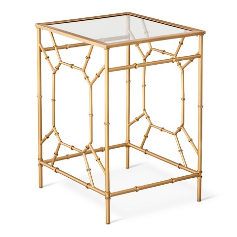Nice Threshold Bamboo Motif Accent Table Gold AND TAKE MORE OFF