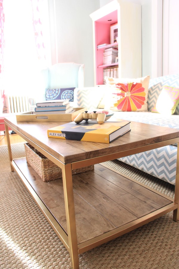 Monday Makeover Faux Gold Leaf Coffee Table
