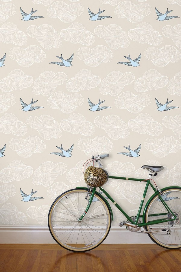 JULIA ROTHMAN DAYDREAM WALLPAPER IN CREAM (ADORE THE BABY BLUE BIRDS IN THIS ONE!)