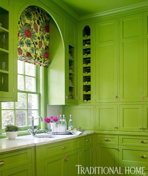 TRADITIONAL HOME - BENJAMIN MOORE ROSEMARY GREEN KITCHEN