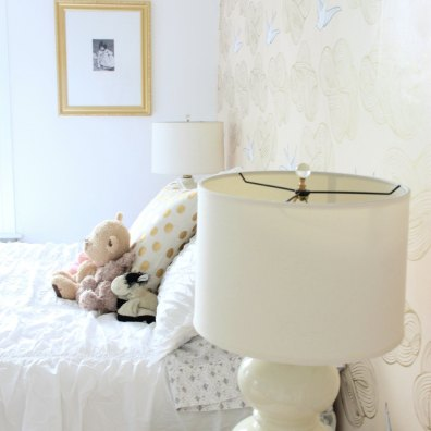 PHOEBE'S BEDROOM WITH BLUSH WALLPAPER, CHANTILLY LACE WALLS