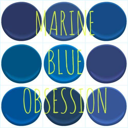 "BENJAMIN MOORE ""MARINE BLUES"" : ADMIRAL BLUE, BRILLIANT BLUE, BLUEBERRY HILL, CALIFORNIA BLUE, DARK ROYAL BLUE, EVENING BLUE, STARRY NIGHT BLUE, SYMPHONY BLUE AND TWILIGHT BLUE"