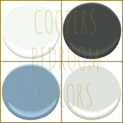 COOPER'S COLORS: BENJAMIN MOORE - CHANTILLY LACE, GRAPHITE, BLUE DENIM AND HORIZON