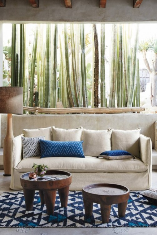 ANTHROPOLOGIE - THE CARLIER COLLECTION - BENCH SEAT, MULTIPLE PILLOWS, SLIPCOVERED - MODERN BENCH SEAT, TOPSTITCHED, 5 BACK PILLOWS,
