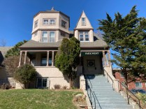 """514 Park Avenue is a very cool house with an intriguing history--I just know it. She sits high up from the sidewalk. Apparently built in 1888 for the Meday family, Architect Mendlessohn & Co. registered the original home at a cost of $6000. Its shingle now reads """"Park West."""""""