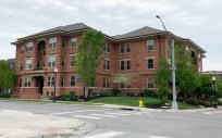 Current photo of the Uintah Apartments at 720 Park Avenue. Camera facing northwestern angle. Displays Leavenworth entry.