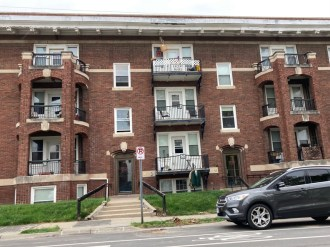 Current photo of the Thorvald Apartments at Park Avenue and Harris Street. Now called the Meyer Apartments.