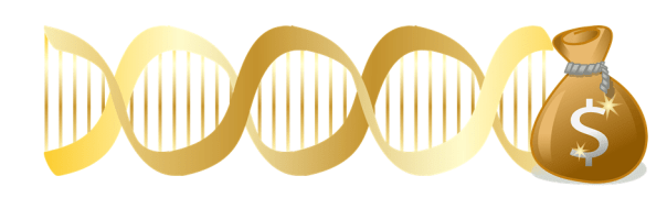 Golden DNA helix with money bag at end.