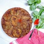 Eggplant tarte tatin - caramelized vegetarian pie spiced with paprika, cumin and tahini.
