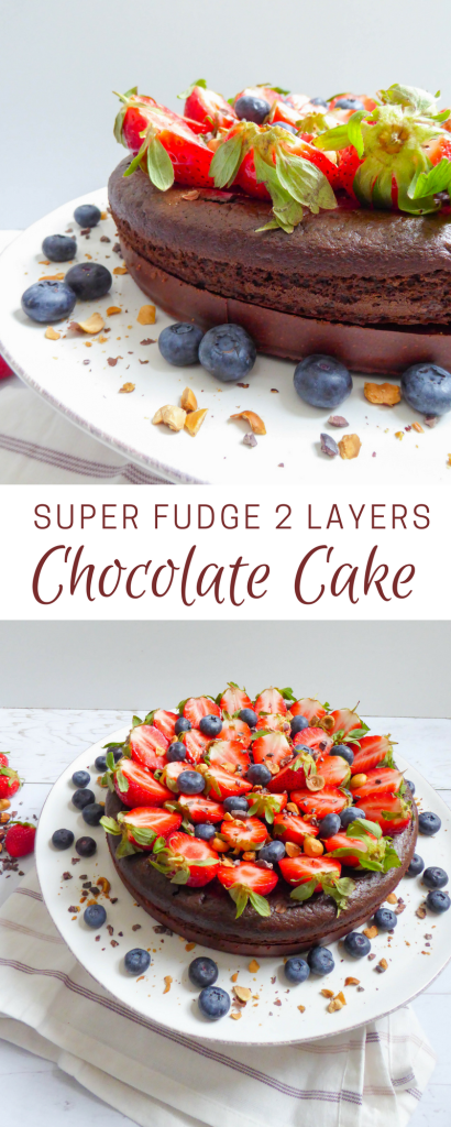 "Super fudge chocolate cake - Layered super lava cake on a homemade ""Nutella"" crust"