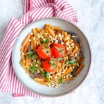 One Pot Tomato Pasta - super easy versatile vegan pasta with mushrooms  made in 10 minutes