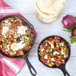 Shakshuka 2.0 - eggplant shakshuka with vegan option. Ideal for brunch or parties.