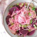 PINK BEET ONION PASTA | Low Calories | Gluten-Free