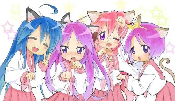 Miyuki Takara, Kagami Hiiragi, Konata Izumi and Tsukasa Hiiragi From Lucky☆Star