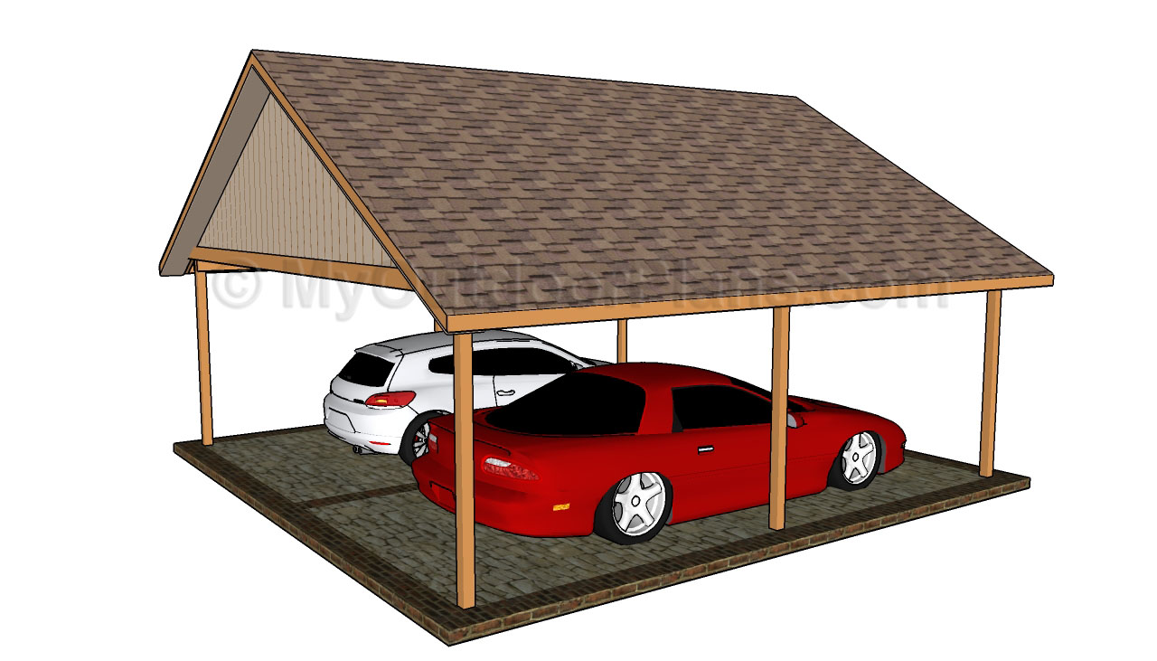 Pdf plans double car carport plans download storage bed for Carport blueprints