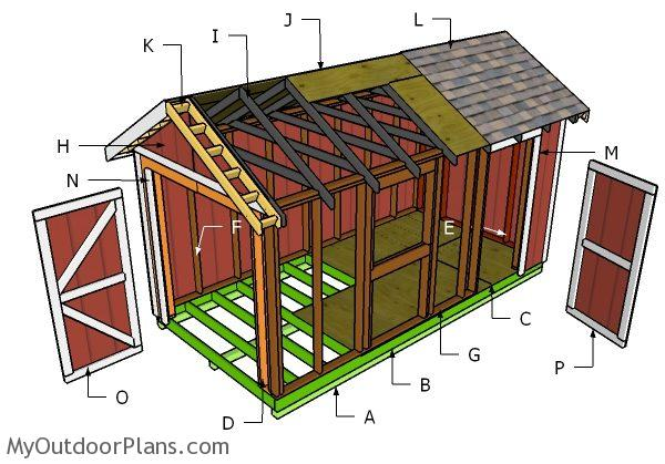 8x16 Gable Shed Roof Plans Myoutdoorplans Free