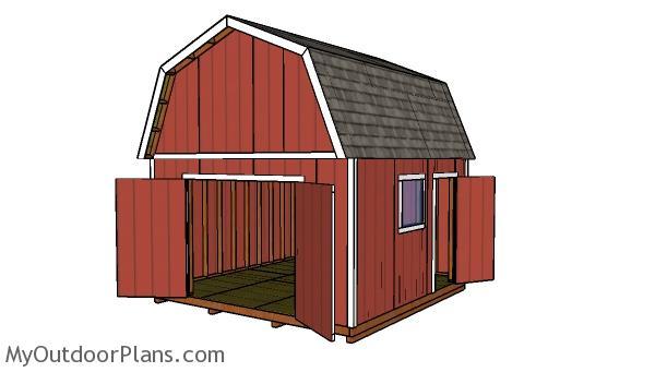 14x14 Gambrel Shed Free DIY Plans MyOutdoorPlans