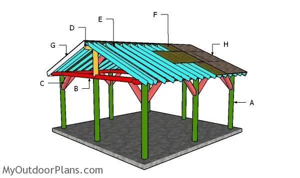 18x18 shelter gable roof plans
