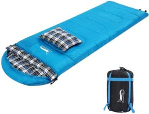 Desert & Fox Flannel Sleeping Bag with Pillow for 4 Season Warm & Cold Weather Camping