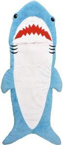 Iscream Shark Buddy Faux Sherpa-Lined Sleeping Bag for Kids, Plush Fleece Zippered