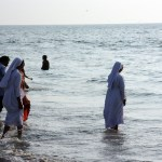 Nuns having a dip
