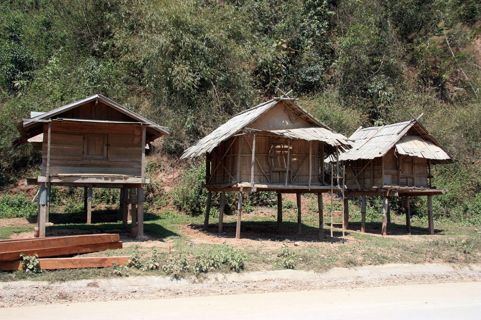 Basic Wooden Huts  - Northern Laos