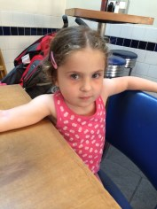 Serious Face at Mac's Fish and Chips - we ate, she mostly didn't