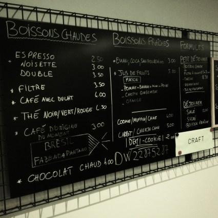 chalkboard at craft - menu