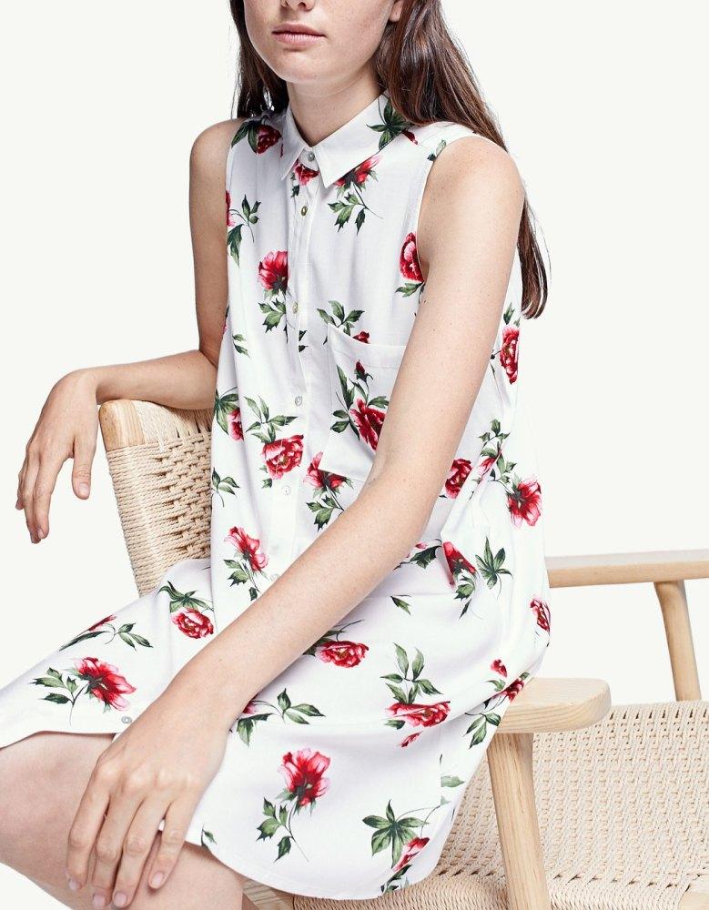 look-robe-fleurs-chemise-stradivarius