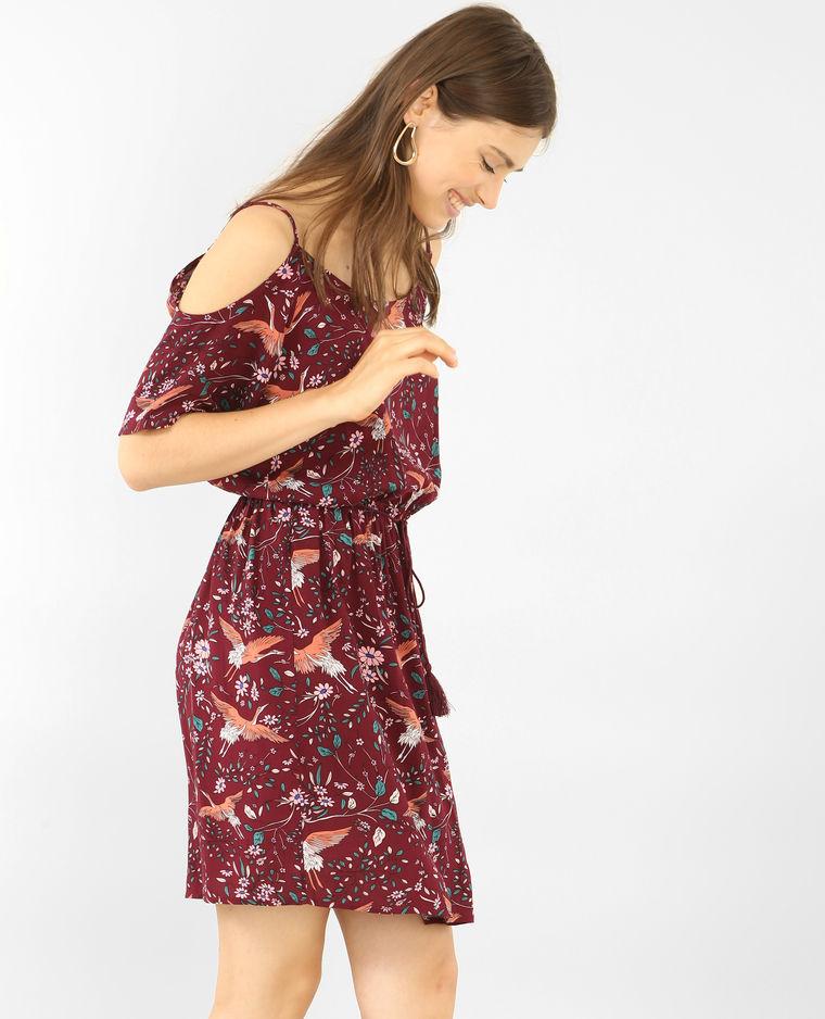 look-robe-fleurs-mi-saison-rouge-pimkie