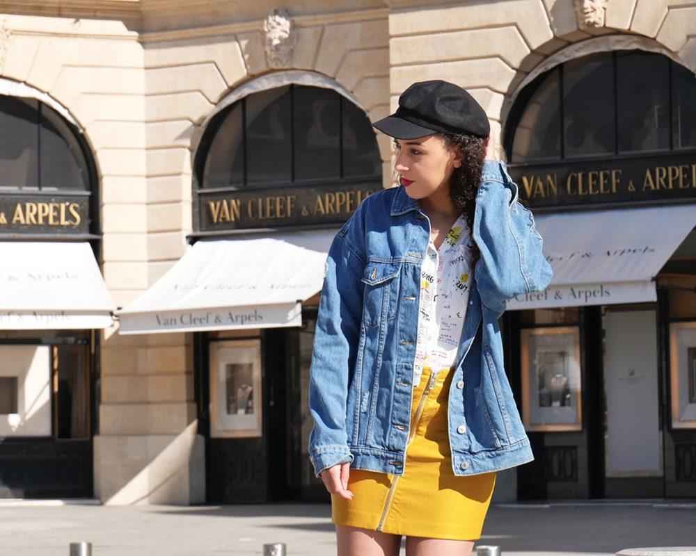 look-ado-veste-jean-jupe-cuir-jaune-americain