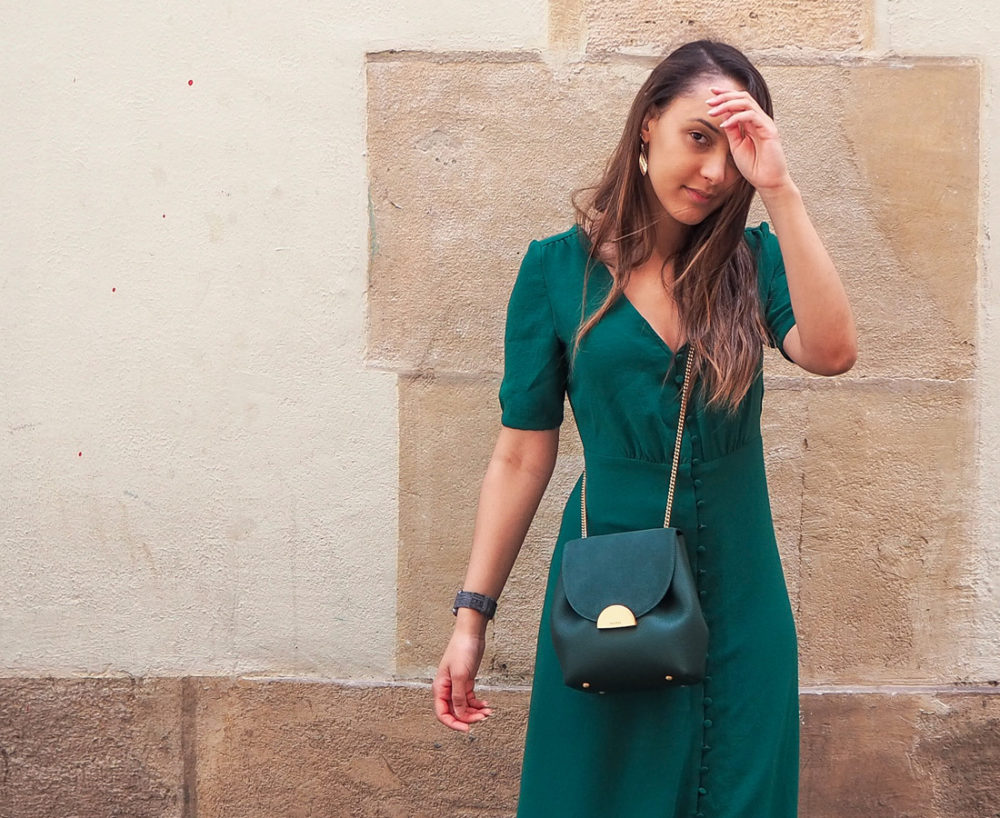 look-ete-robe-sezane-sac-polene-green