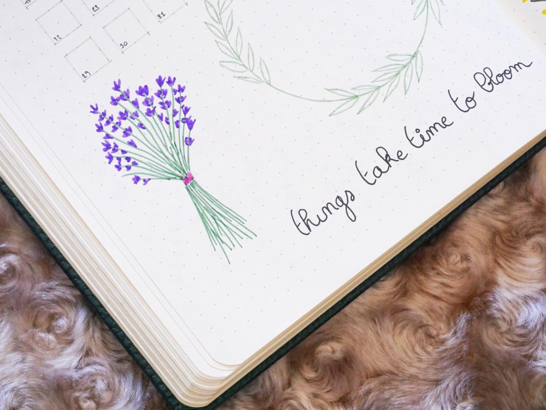 bullet-journal-juin-bouquet-fleurs-lavande